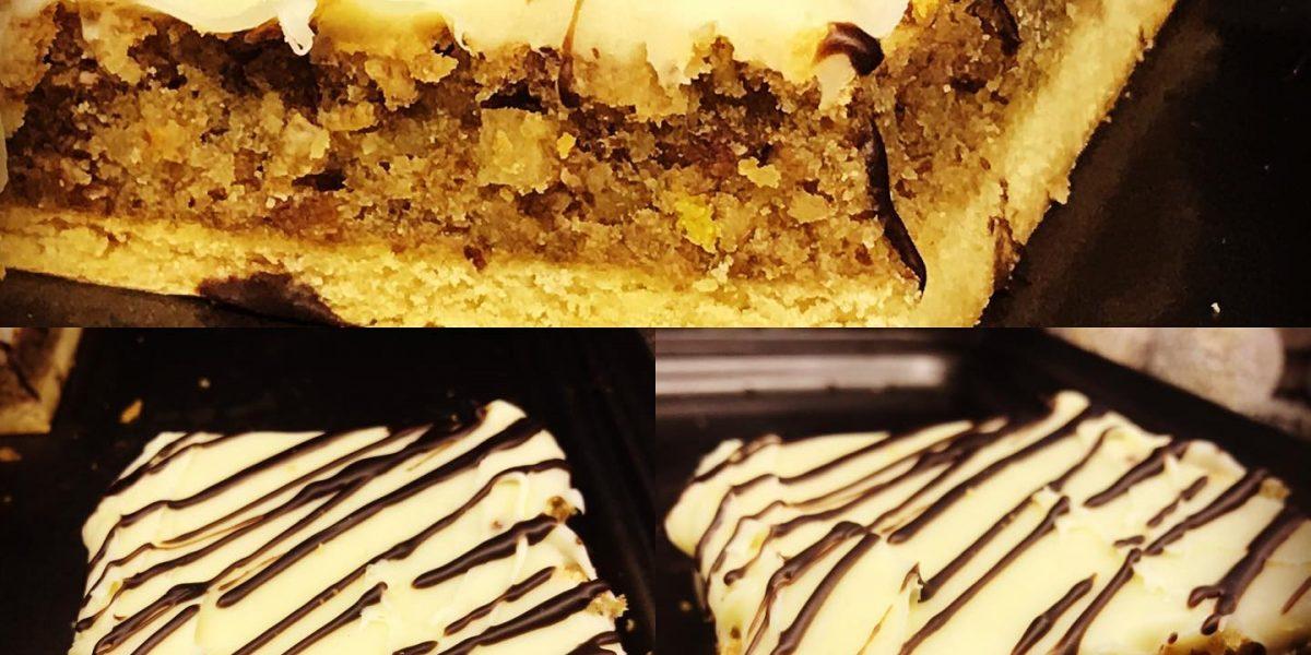 pastel de almendra bañada en chocolate